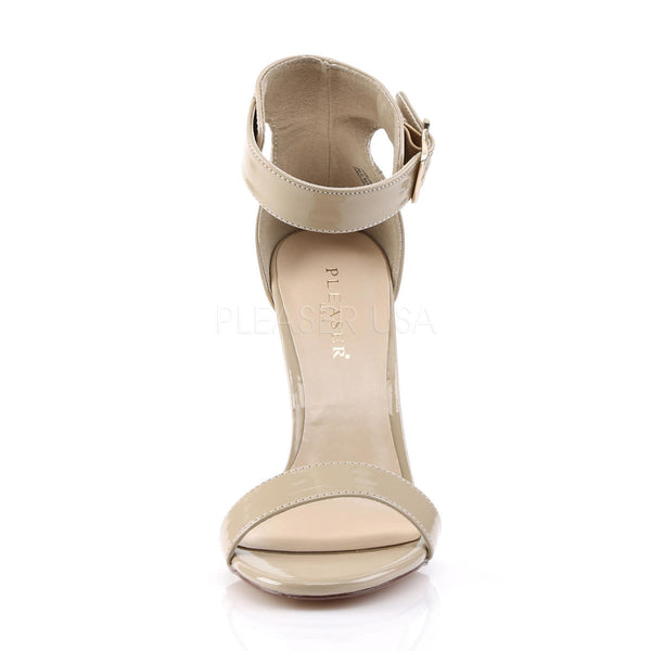 Pleaser AMUSE-10 Cream Patent Ankle Strap Sandals - Shoecup.com - 2