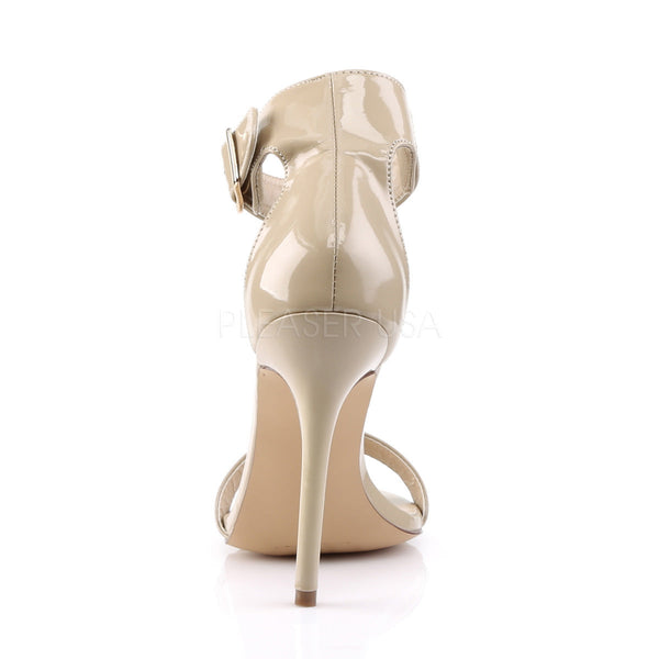 Pleaser AMUSE-10 Cream Patent Ankle Strap Sandals - Shoecup.com - 4