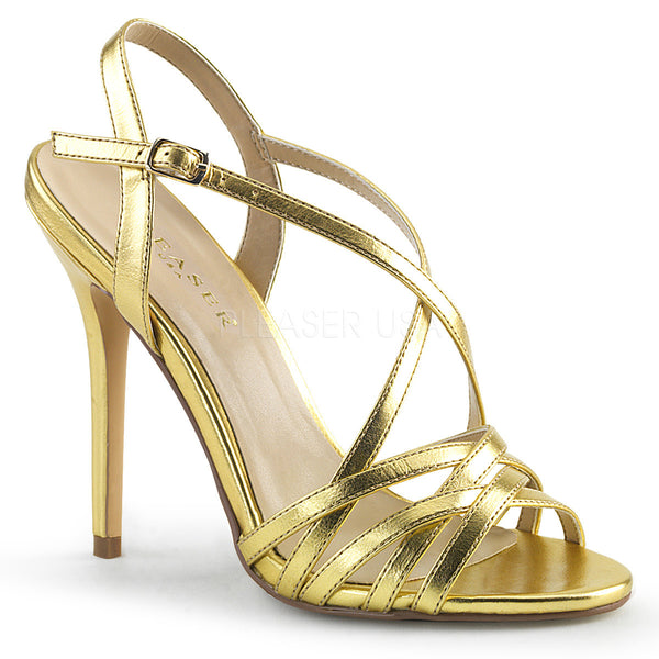 "5"" Heel AMUSE-13 Gold Criss-Cross Strap Sandal"