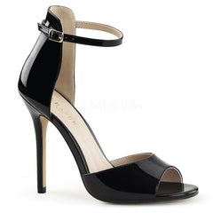 PLEASER AMUSE-14 Black Pat Ankle Strap Sandals - Shoecup.com - 1