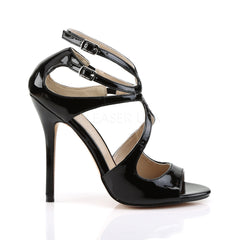 PLEASER AMUSE-15 Black Pat Strap Sandals