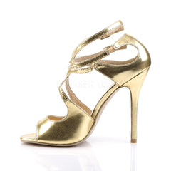PLEASER AMUSE-15 Gold Met Pu Strap Sandals - Shoecup.com - 3