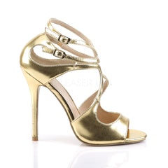PLEASER AMUSE-15 Gold Met Pu Strap Sandals - Shoecup.com - 5