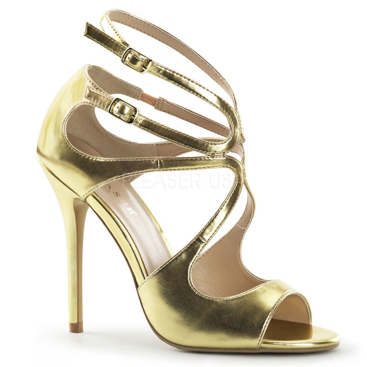 PLEASER AMUSE-15 Gold Met Pu Strap Sandals - Shoecup.com - 1