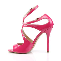 PLEASER AMUSE-15 Hot Pink Pat Strap Sandals - Shoecup.com - 3