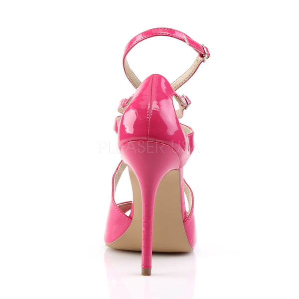 PLEASER AMUSE-15 Hot Pink Pat Strap Sandals - Shoecup.com - 4
