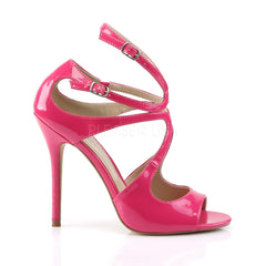 PLEASER AMUSE-15 Hot Pink Pat Strap Sandals