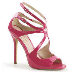 PLEASER AMUSE-15 Hot Pink Pat Strap Sandals - Shoecup.com - 1