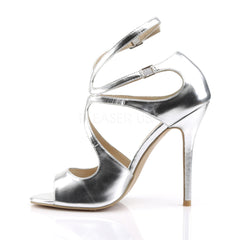PLEASER AMUSE-15 Silver Met Pu Strap Sandals - Shoecup.com - 3