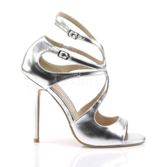 PLEASER AMUSE-15 Silver Met Pu Strap Sandals