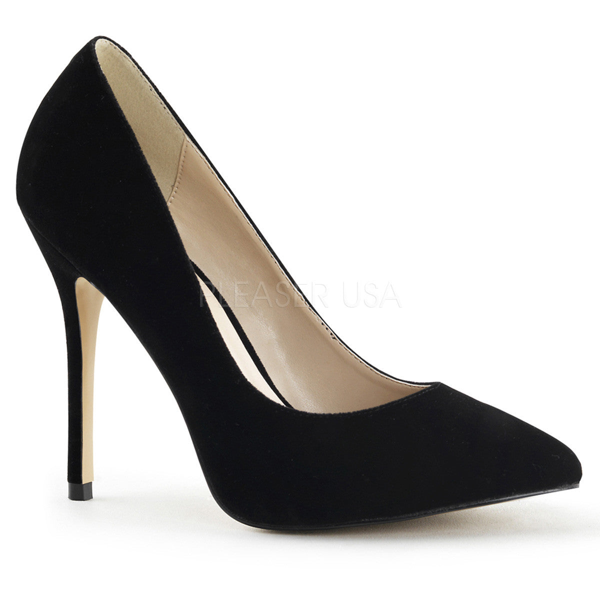 PLEASER AMUSE-20 Black Velvet Pumps - Shoecup.com - 1