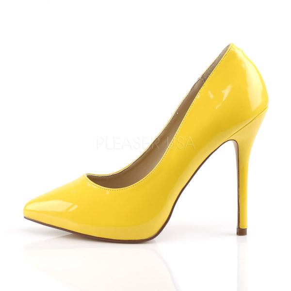 PLEASER AMUSE-20 Neon Yellow Pat Pumps - Shoecup.com - 3
