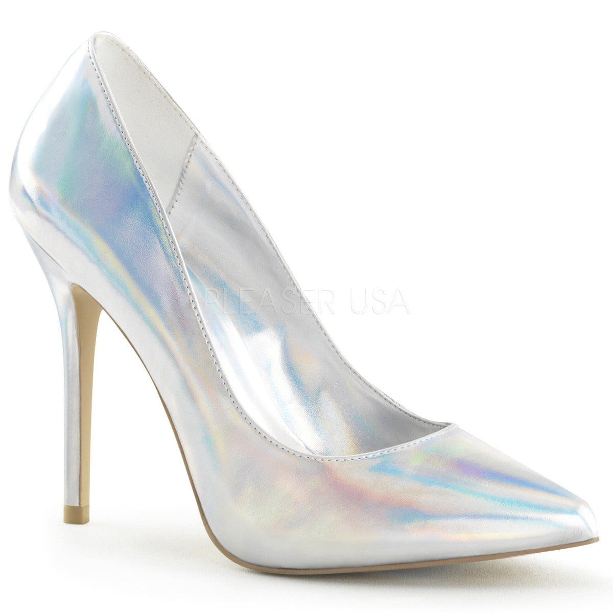 PLEASER AMUSE-20 Silver Hologram Pu Pumps - Shoecup.com