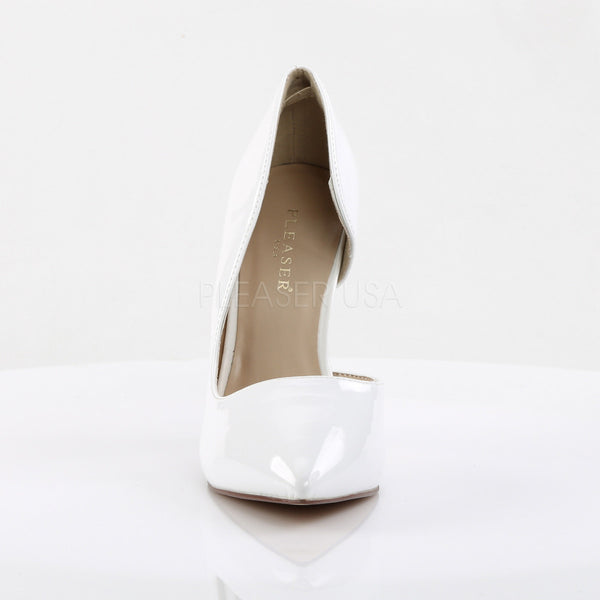 Pleaser AMUSE-22 White Patent D'Orsay Pumps - Shoecup.com - 2
