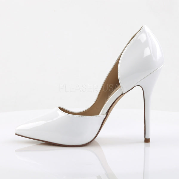 Pleaser AMUSE-22 White Patent D'Orsay Pumps - Shoecup.com - 3