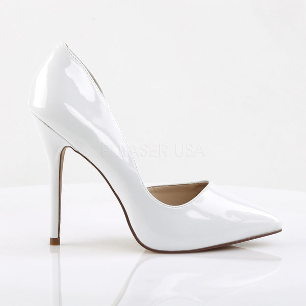 Pleaser AMUSE-22 White Patent D'Orsay Pumps