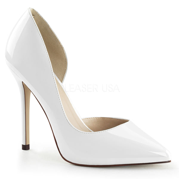 Pleaser AMUSE-22 White Patent D'Orsay Pumps - Shoecup.com - 1