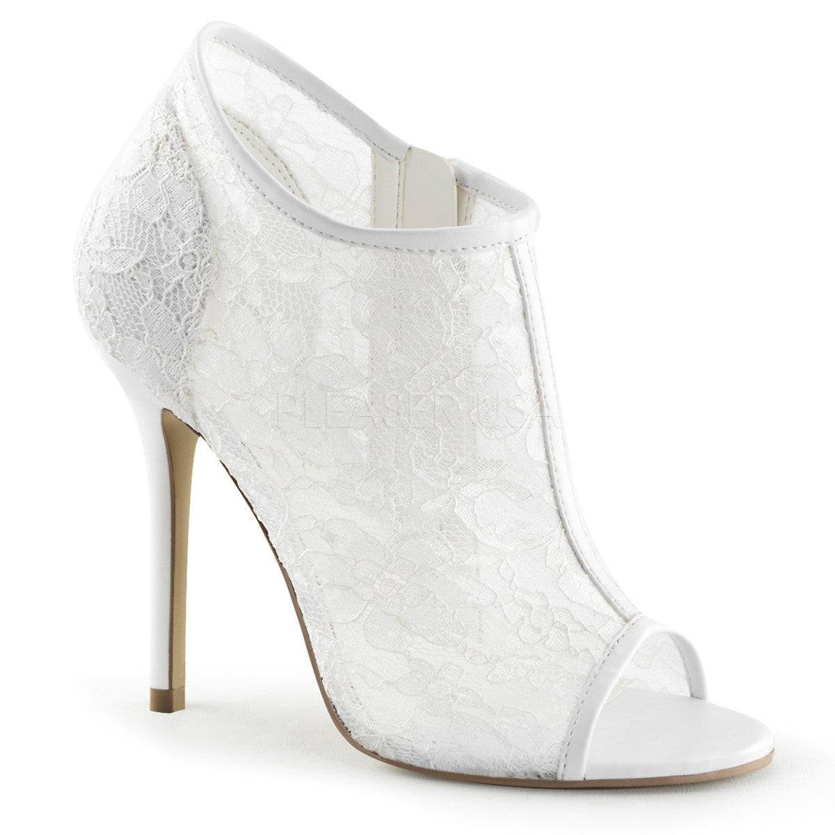 FABULICIOUS AMUSE-56 Ivory Lace-Mesh Ankle Boots - Shoecup.com - 1