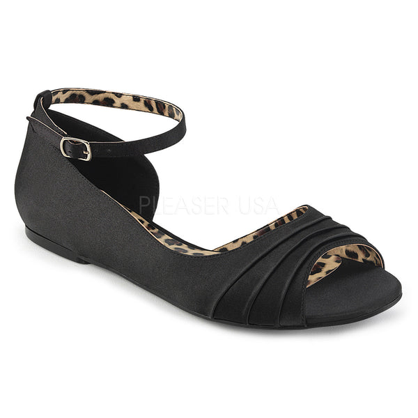 Pleaser Pink Label ANNA-03 Black Satin Ballet Flat - Shoecup.com