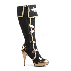FUNTASMA ARENA-2012 Black Microfiber-Gold Pu Knee High Boots