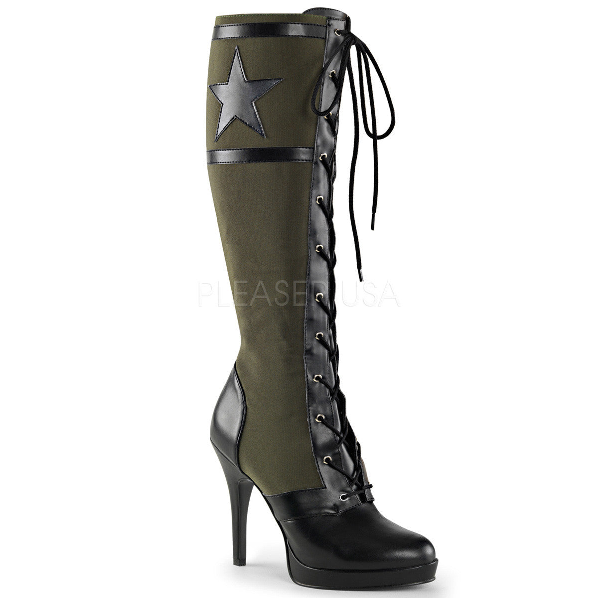 Funtasma ARENA-2022 Black Pu-Army Green Canvas Knee High Military Boots - Shoecup.com