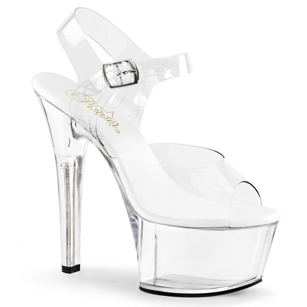 Pleaser ASPIRE-608 Clear Ankle Strap Sandals With Clear Platform - Shoecup.com - 1