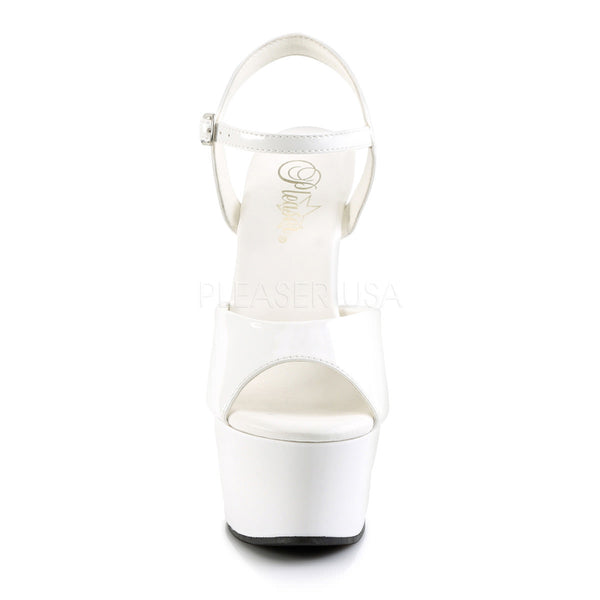 Pleaser ASPIRE-609 White Ankle Strap Sandals - Shoecup.com - 3