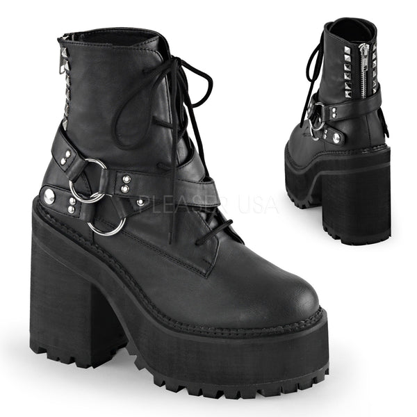 Demonia,Demonia ASSAULT-101 Black Vegan Leather Ankle Boots - Shoecup.com