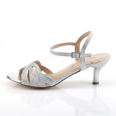 Fabulicious AUDREY-03 Silver Shimmering Fabric Ankle Strap Sandals