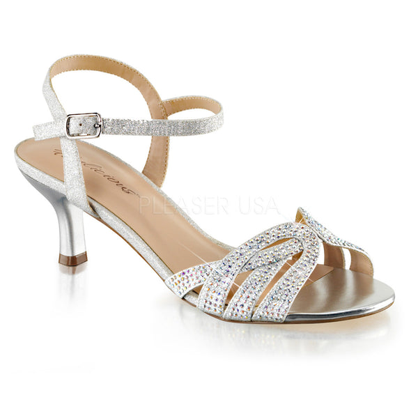 Fabulicious AUDREY-03 Silver Shimmering Fabric Ankle Strap Sandals - Shoecup.com