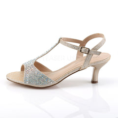 Fabulicious AUDREY-05 Nude Shimmering Fabric T-Strap Sandles