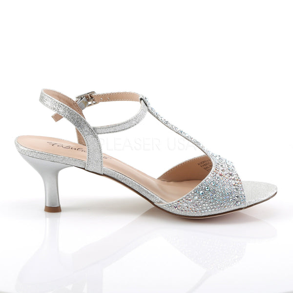 Fabulicious AUDREY-05 Silver Shimmering Fabric T-Strap Sandles