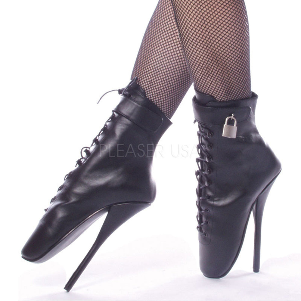 DEVIOUS BALLET-1025 Black Leather Extreme Ballerina Ankle Boots