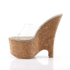 PLEASER BEAU-601 Clear-Tan-Cork Wedges - Shoecup.com - 3