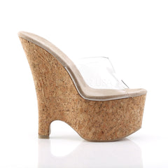 PLEASER BEAU-601 Clear-Tan-Cork Wedges