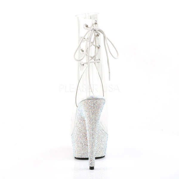 Pleaser BEJEWELED-1018DM-6 Clear Ankle Boots With Silver Multi Rhinestone Platform - Shoecup.com - 4