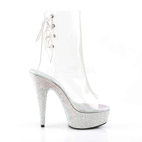 Pleaser BEJEWELED-1018DM-6 Clear Ankle Boots With Silver Multi Rhinestone Platform