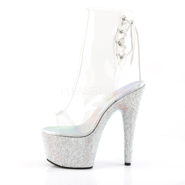 Pleaser BEJEWELED-1018DM-7 Clear Ankle Boots With Silver Multi Rhinestone Platform - Shoecup.com - 3