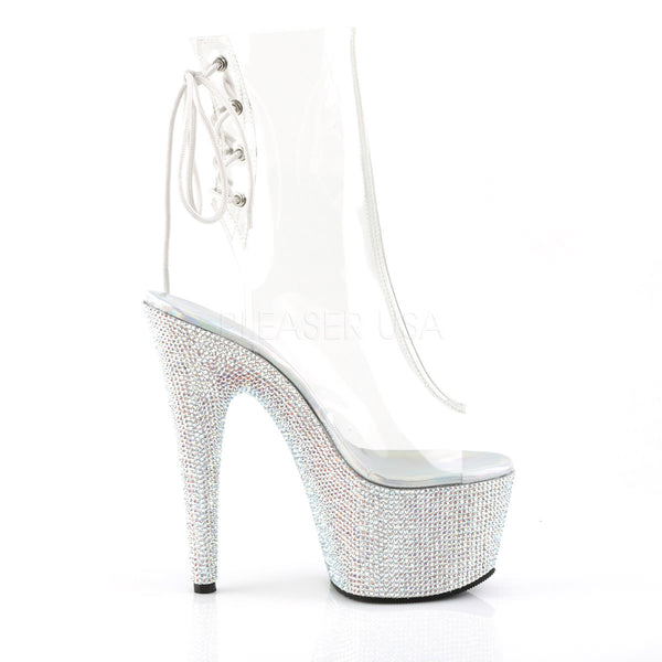 Pleaser BEJEWELED-1018DM-7 Clear Ankle Boots With Silver Multi Rhinestone Platform