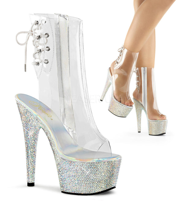 Pleaser BEJEWELED-1018DM-7 Clear Ankle Boots With Silver Multi Rhinestone Platform - Shoecup.com - 1