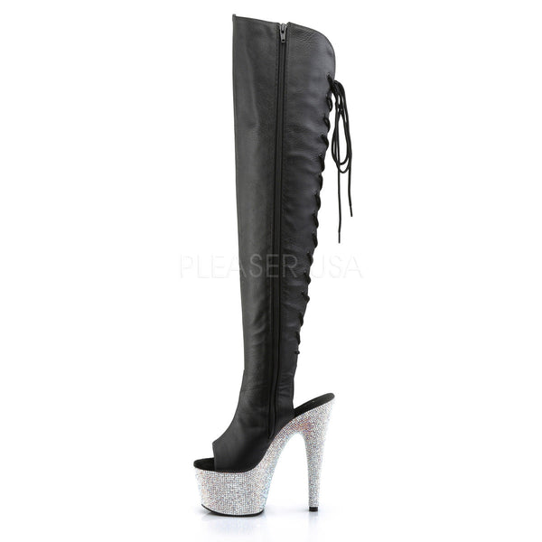 Pleaser BEJEWELED-3019DM-7 Black Thigh High Boots With Silver Multi Rhinestone Platform - Shoecup.com - 3