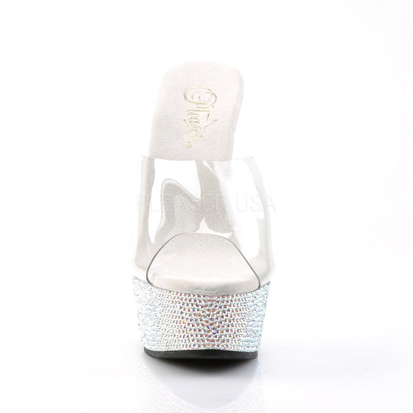 PLEASER BEJEWELED-601DM Clear-Silver Multi Rhinestone Slides - Shoecup.com - 2