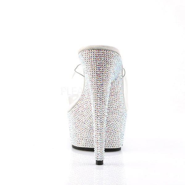 PLEASER BEJEWELED-601DM Clear-Silver Multi Rhinestone Slides - Shoecup.com - 4
