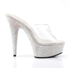 PLEASER BEJEWELED-601DM Clear-Silver Multi Rhinestone Slides
