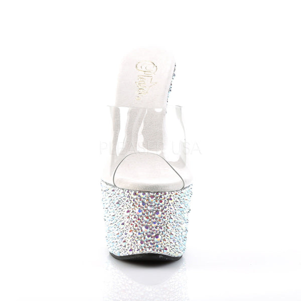 PLEASER BEJEWELED-701MS Clear-Silver Multi Rhinestone Platform Slides - Shoecup.com - 2