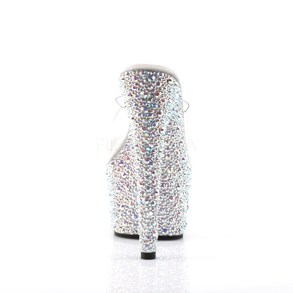 PLEASER BEJEWELED-701MS Clear-Silver Multi Rhinestone Platform Slides - Shoecup.com - 4