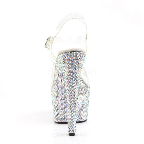PLEASER BEJEWELED-708DM Clear-Silver Multi Rhinestone Ankle Strap Sandals - Shoecup.com - 4