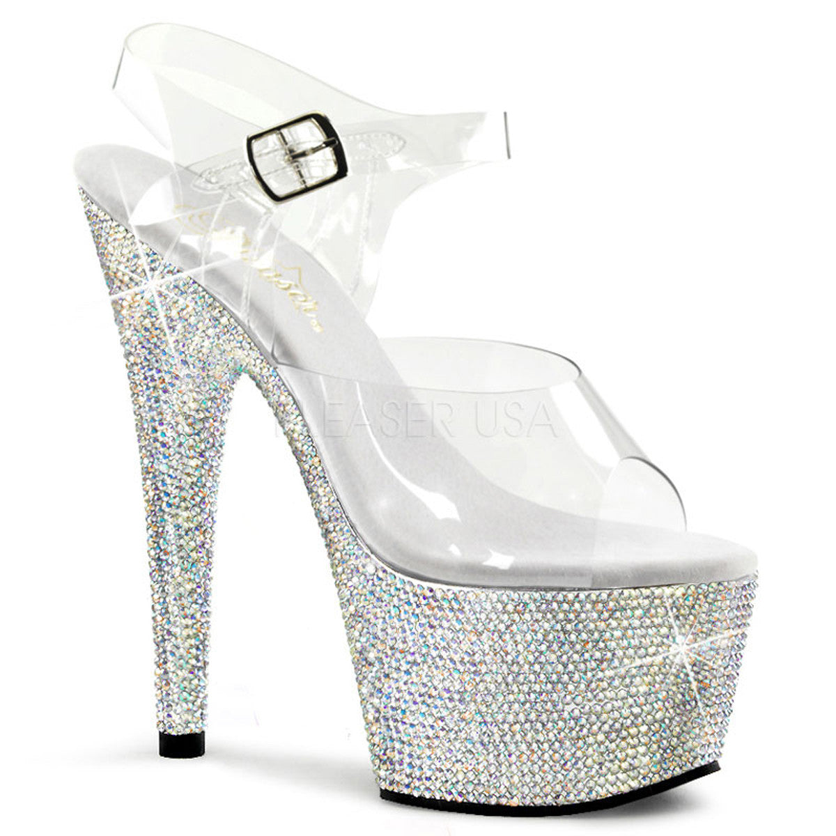 PLEASER BEJEWELED-708DM Clear-Silver Multi Rhinestone Ankle Strap Sandals - Shoecup.com - 1