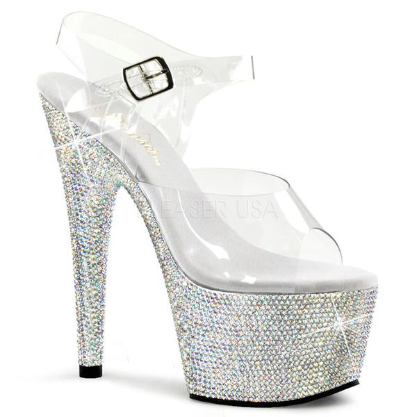 aec8ca62140 PLEASER BEJEWELED-708DM Clear-Silver Multi Rhinestone Ankle Strap Sandals