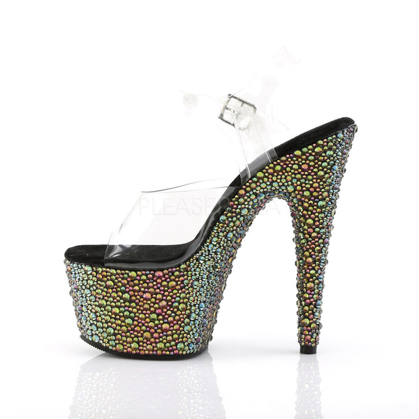Pleaser BEJEWELED-708MS Clear Ankle Strap Sandals With Green Multi Rhinestones Platform - Shoecup.com - 3